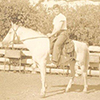 Jackeroo Jim Brooks, riding pure Arabian stallion 'Nelson', Lanyon c. 1940